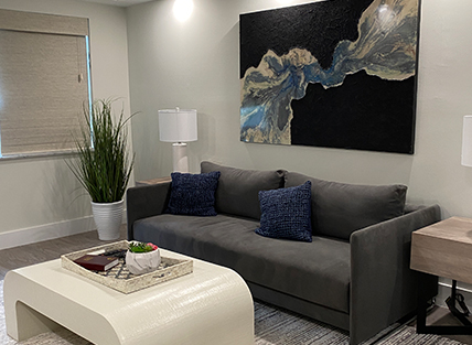 Couch in Boca Raton Vacation Rental
